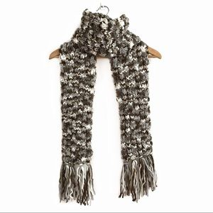Old Navy Chunky Knit Scarf Brown White Grey